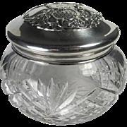 Antique English Sterling Crystal Dresser Vanity Jar