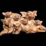 Large Carved Pig Sculpture/Figurine