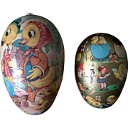 Two West Germany Papier Mache Candy Container Easter Eggs w/Doll