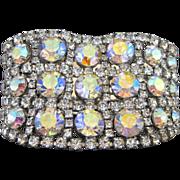 Vintage Wide Aurora Borealis and Clear Rhinestone Bracelet