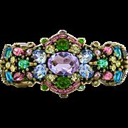 SALE Vintage Hollycraft Pastel Rhinestone Hinged Clamper Bracelet