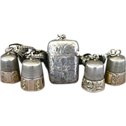Vintage Sterling Silver And Gold Thimbles And Match Safe Bracelet