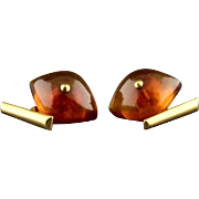 Vintage 10K Gold And Amber Cufflinks