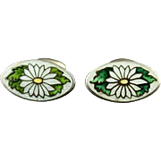 Vintage Vermeil Sterling Silver Cloisonne Enamel Flower Cufflinks