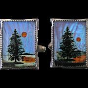 Vintage Blue Morpho Butterfly Wing Forest Scene Cufflinks