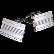 SALE Vintage Engraved Sterling Silver Rectangular Cufflinks