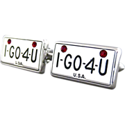 SALE Vintage License Plate Style I GO 4 U Cufflinks by Swank