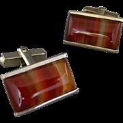 Vintage Rectangular Banded Carnelian Agate Stone Cufflinks