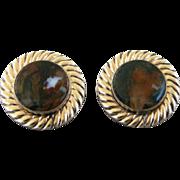 Vintage Moss Agate Stone Cufflinks By Destino