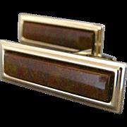 Vintage Natural Brown Agate Stone Cufflinks By Jaguar