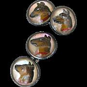 Vintage Reverse Cut Crystal Intaglio Dog Cufflinks In Sterling Silver