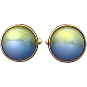 Vintage Kreisler Craft Change O Color Yellow And Blue Lucite Ball Cufflinks