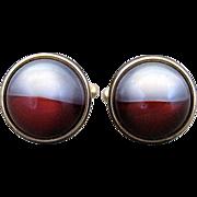 Vintage Kreisler Craft Change O Color Red And Grey Lucite Ball Cufflinks