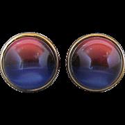 Vintage Kreisler Craft Change O Color Red And Blue Lucite Ball Cufflinks