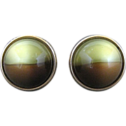 Vintage Kreisler Craft Change O Color Brown And Yellow Lucite Ball Cufflinks