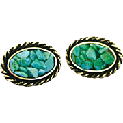 Vintage Polished Green Turquoise Nugget Chip Cufflinks By Anson