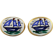 Vintage Victoria Flemming Painted Porcelain Sailing Ship Cufflinks