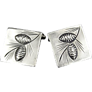 Vintage Sterling Silver Square Pine Cone Cufflinks By Stuart Nye
