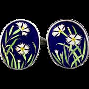 Vintage Silver And Enamel Cloisonne Flower Cufflinks