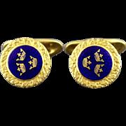 Vintage Sporrong & Co Three Crown Guilloche Blue Enamel Cufflinks