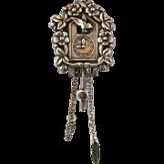 Vintage Coro Pegasus Silver Tone Cuckoo Clock Fur Clip