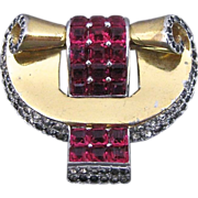 Vintage Boucher Phrygian Rhinestone And Red Square Glass Fur Clip