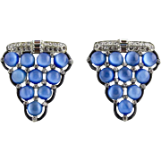 Vintage Lidz Brothers Matching Pair Of Blue Moonglow Glass Dress Clips
