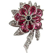 Vintage Pink Crystal And Clear Rhinestone Flower Fur Clip