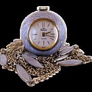 SALE Vintage Sterling And Lavender Enamel Ladies Windup Watch Pendant