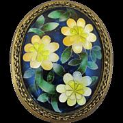 Vintage Japanese Cloisonne Enamel And Brass Flower Pin