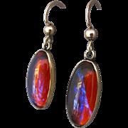 Vintage Dragons Breath Jelly Opal Brass Pierced Earrings