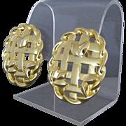 Vintage Givenchy Open Weave Gold Tone Pierced Earrings