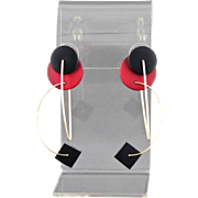 Vintage TKO Designs Kinetic Black And Red Acrylic Pierced Earrings