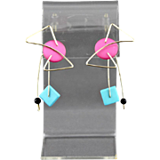 Vintage Kinetic Pink And Blue Acrylic Pierced Earrings Attributed To TKO Designs
