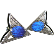Vintage Collar Tips With Blue Morpho Butterfly Wing.