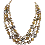 Vintage Castlecliff Faux Baroque Pearl And Rhinestone Triple Strand Necklace