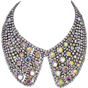 Vintage Very Large Aurora Borealis and Clear Rhinestone Bib Necklace