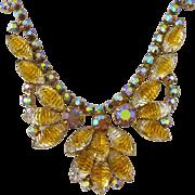 Vintage Juliana Golden Yellow and Aurora Borealis Rhinestone Choker Necklace
