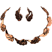 Vintage Renoir Copper Choker Necklace And Clip Back Earring Set