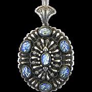 Vintage Silver Tone Filigree Foiled Blue Art Glass Pendant