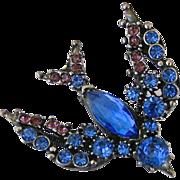 SALE Vintage Florenza Blue Swallow Rhinestone Trembler Pin