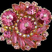 Vintage Juliana Pink Margarita Rhinestone And Crystal Pin