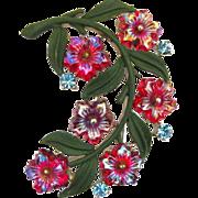 Vintage Coro Rhinestone Enamel And Glass Flower Pin