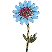 Vintage Weiss Large Blue Glass And Pink Rhinestone Flower Pin
