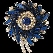 SALE Vintage Juliana Cobalt Blue Crystal And Aurora Borealis Sunburst Pin