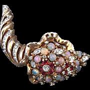 SALE Vintage Reja Rhinestone and Faux Opal Cornucopia Pin