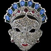SALE Vintage Mazer Oriental Face Mask Rhinestone Pin