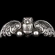 Vintage Mexican Silver Repousse Art Nouveau Style Owl Pin