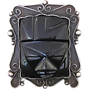 Vintage Mexican Silver and Obsidian Face or Mask Pin