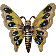 Vintage Sterling Silver And Enamel Butterfly Pin by Coro